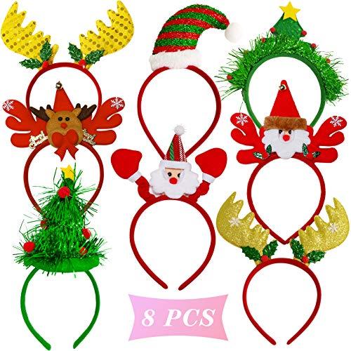 Merry Christmas Headbands,Glitter Christmas Headwear Creative Christmas Head Hat Reindeer Antler Hairband Cute Hair Hoop Decoration Gift Set, Christmas Party Favors Hoilday Photo Props for Kids Girls