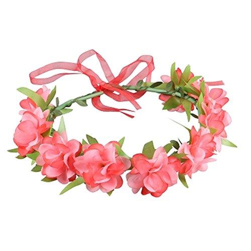 Damen Handgemachte Blumen Haar Crown Hochzeit Kopfschmuck Kopf Kranz, Rot