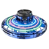 Abree Flying Toys para Adultos y niños con Carga USB Mini UFO Drone Spinner Manual con Luces LED RGB giratorias y Brillantes de 360 ° (Blue)