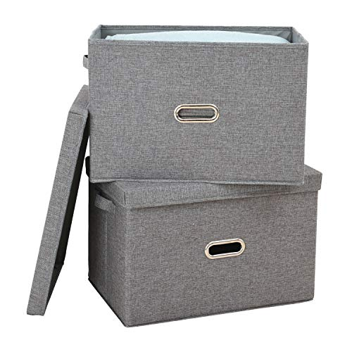 Polecasa Storage Bins with Lid-2 Pack-Removable Lid Collapsible Stackable Linen Fabric Storage Cubes Boxes Containers Organizer Basket for Home Office Bedroom Closet and ShelvesLarge 38L