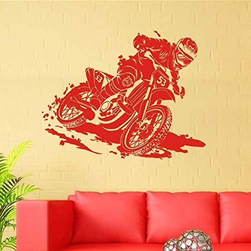 ASFGA Motocross Aufkleber Auto Junge Schlafzimmer Poster Vinyl Wandtattoo Dekoration Wandbild Motorrad Club Sportwagen Wohnzimmer Aufkleber 58x73cm