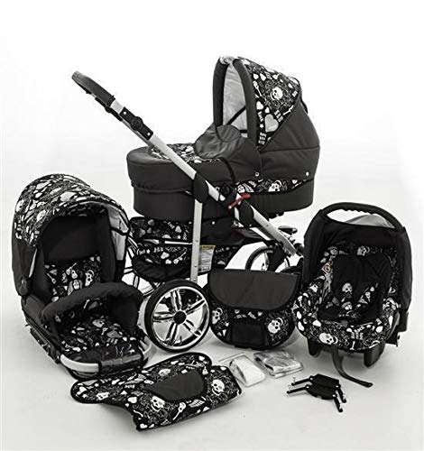 Kinderwagen 3in1 2in1 Set Isofix Buggy Kombikinderwagen X-Rock by SaintBaby Graphit & Totenkopf 3in1 mit Babyschale