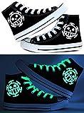 Telacos Trafalgar Law Cosplay Zapatos de lona Zapatillas Luminosas Negro y Azul, Negro (Negro), 37 EU