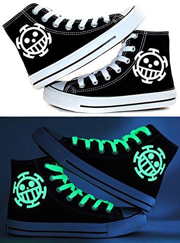 One Piece Trafalgar Law cosplay zapatos lienzo zapatos Zapatillas luminoso, color negro y azul