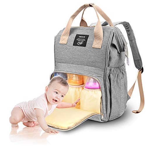 Diaper Bag Backpack, OSOCE Multifunction Maternity Baby Bag, Waterproof and Stylish Diaper Backpack for Mom and Dad, Baby Diaper Bag with Large Capacity and Lightweight Size, Light Grey
