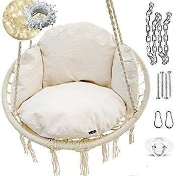 NOOKSTA Hammock Chair -Ultimate Comfort Hanging Chairs for bedrooms Set- Hanging Chair Deluxe Cushion for Macrame Swinging Chairs & Hanging kit Boho Decor Perfect for Outdoor Chair or Bedroom Swing