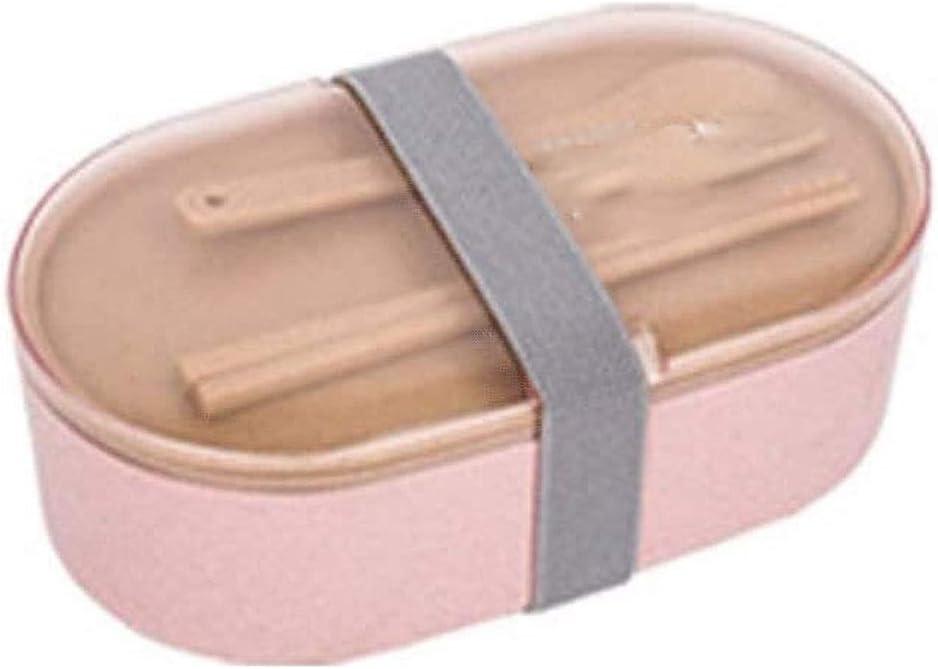 Fiambrera Caja for niños y adultos, oval simple de doble capa a prueba de fugas Bento envase del almuerzo, almuerzo caja sellada con la cuchillería, fibra de trigo Segura saludable disfrutar un almuer