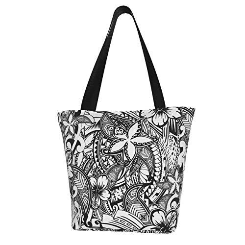 Personalisierte Canvas-Tragetasche, hawaiianischer Polynesischer Trbal-Tatoo-Druck, waschbare Handtasche, Umhängetasche, Einkaufstasche für Frauen