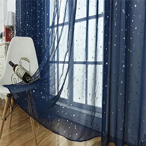 WUBODTI Navy Blue Sheer Curtains for Kids Bedroom Living Room Nursery Window 1 Panel, Beautiful Star Voile Boys Room Drapes Curtains Window Treatments,39 x 79 inch Rod Pocket