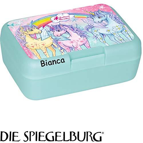 Lunchbox * Einhorn-Paradies Plus Wunschname * für Kinder von Spiegelburg | Brotdose mit Namensdruck | Perfekt für Unicorn-Fans | Vesperdose Brotzeitbox Brotzeit Schule Kindergarten (mit Namen)