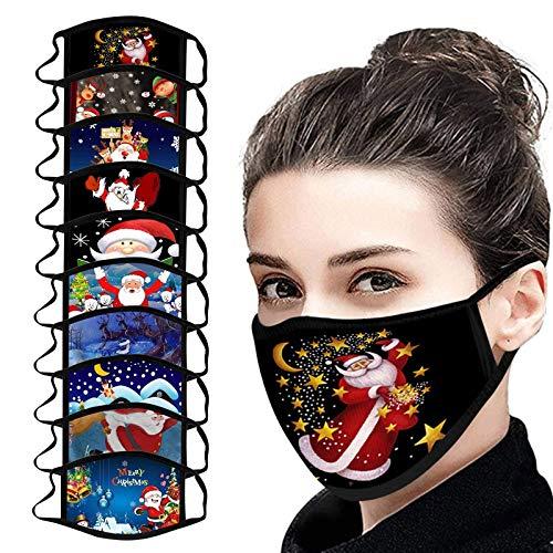 SicongHT Weihnachten Waschbar Mundschutz, 10 Stück Mund und Nasen_Schutz Baumwolle, Mehrweg Atmungsaktiv Stoff Bandana Halstuch Tuch, Mund und Nasenschutz(10 Stück,C)
