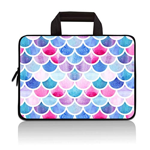 14 14.1' 14.2' 15' 15.4' 15.6' inch Inch Laptop Sleeve Protective Bag with Outside Handle,Ultrabook Notebook Carrying Case Handbag Compatible with Dell Toshiba HP Chromebook(Colorful Mermaid Scale)