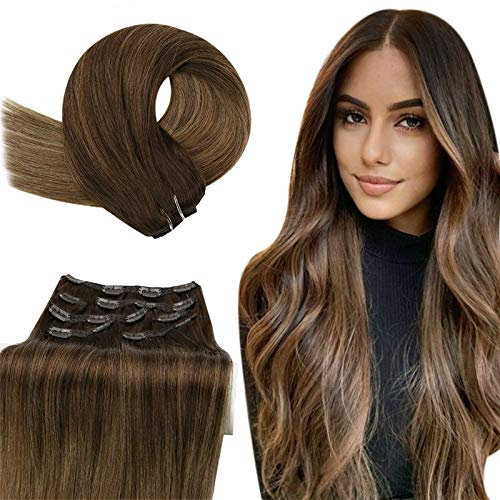 YoungSee Clip in Hair Extensions Brown 24 inch Human Hair Clip in Extensions Dark Brown to Golden Brown Highlights Golden Blonde Hair Extensions Clip in 100G 7Pcs