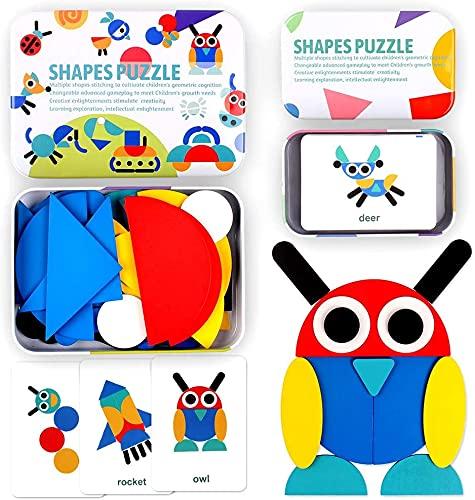 StillCool Tangram Puzzle, 36 Tangram Puzzle de Madera Montessori+ 60 PCS Diseño Tarjetas para Bloques de Patrones de Madera Animales Puzzles Juegos de Clasificación y Apilamiento para Niños(2 años )