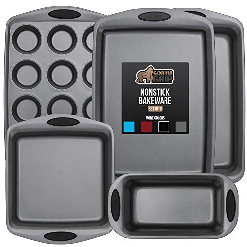 Gorilla Grip Original Kitchen Bakeware Sets, 5 Piece Baking Set with Silicone Handles, Includes 1 Large Size Cookie Sheet, 1 Roaster Pan, 1 Square Baking Pan, 1 Loaf Pan, One 12 Cup Muffin Pan, Black