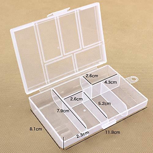 HJFGSAK Werkzeugkasten 6 Gitter Transparente Plastix Box Schmuck/Werkzeuge Aufbewahrungsboxen Bestandteile Kleine Hardware Container Toolbox, 1