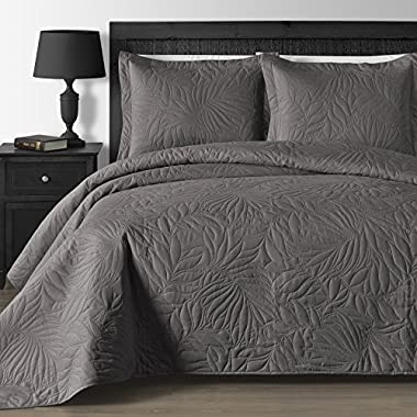 Comfy Bedding Extra Lightweight and Oversized Thermal Pressing Leafage 3-piece Coverlet Set (King/Cal King, Grey)