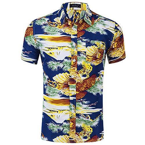 Männer T-Shirt Hawaiian Shirt Short Sleeve Revers Groß Böhmen Ethnischen Style-Taste Drucken Lässige Mode Tropischen Strand Sommer, H, M, L, XL