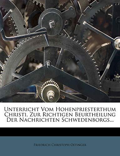Oetinger, F: Unterricht vom Hohenpriesterthum Christi
