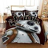 QSTT Juego de funda de edredón y funda de almohada, diseño de Star Wars con estampado digital 3D, 3 piezas, con fundas de almohada (135 x 200 cm)