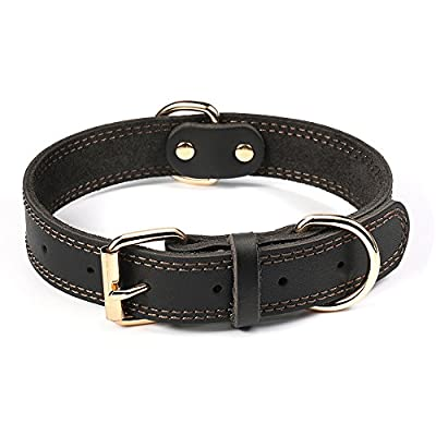 DAIHAQIKO Leather Dog Collar Genuine Leather Alloy Hardware Double D-Ring 3 Best for Medium Large and Extra Large Dogs