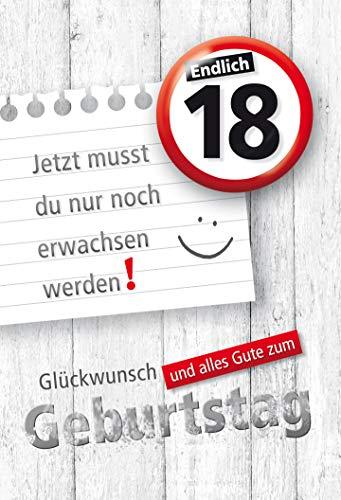 KE, Geburtstagskarte zum 18. Geburtstag   Karte zur Volljährigkeit   Geburtstagskarte mit Zahl und Button   Karte zum 18. Geburtstag im Set   DIN A6   inkl. Umschlag   Motiv: 18