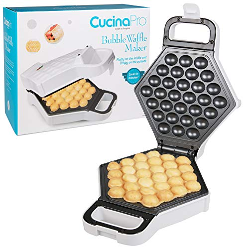 Bubble Waffle Maker- Electric Non stick Hong Kong Egg Waffler Iron Griddle - Ready in under 5 Minutes- Free Recipe Guide Included