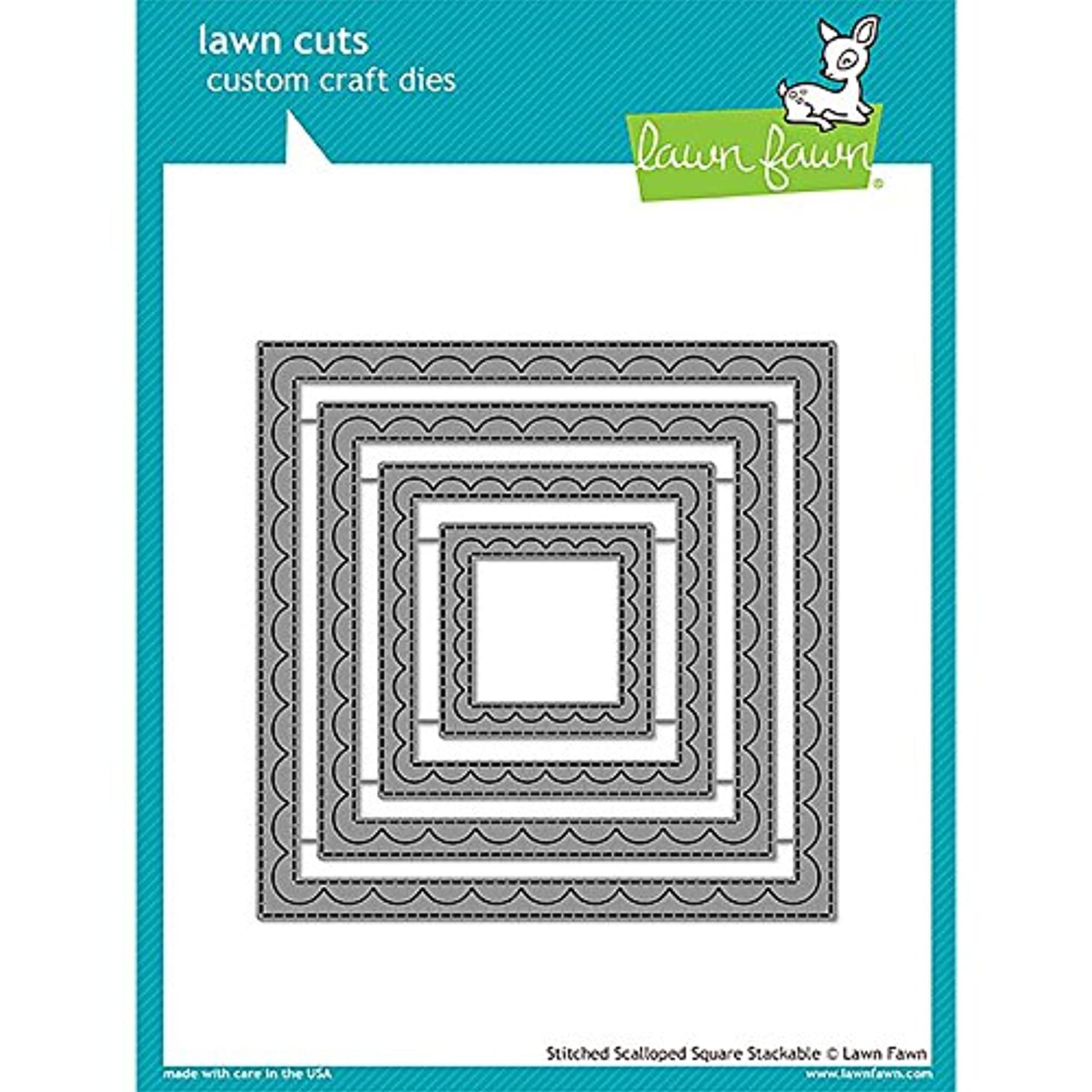 Lawn Fawn Lawn Cuts Custom Craft Die - Outside in Stitched Scalloped Square Stackables (LF1506)