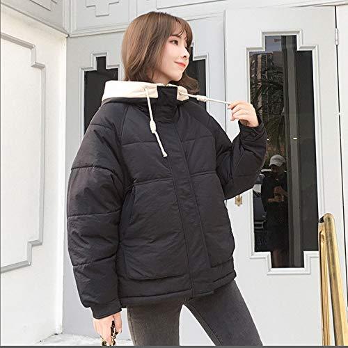DTNSYRF Winter Women Hooded Neue Show dünne Kapuze lose einfarbig Kurzmantel Daunen 709 XL Schwarz