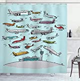 RTYRT Cortina de baño 3D 180x200cm Avión Cortina de Ducha Aviones Fying in Air Aviation Love Airport Helicópteros y chorros Estilo de Dibujos Animados Tela de impresión Decoración de baño