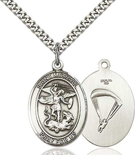 bliss Sterling Silver Saint Michael Paratrooper Medal Pendant, 1 Inch