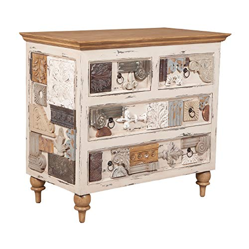 Find Bargain Contemporary Home Living 42 Beige and Brown 4-Drawer Collage Chest