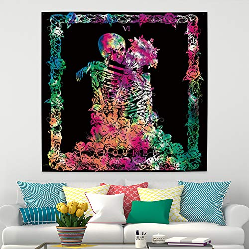 Lfeey Skull Tapestry The Kissing Lover Men Woman Skeleton Love Beyond Death Tarot Wall Hanging Hippie Colorful Romantic Poster Art Polyester Blanket for Bedroom Living Room Dorm Decor 29.5'x29.5'