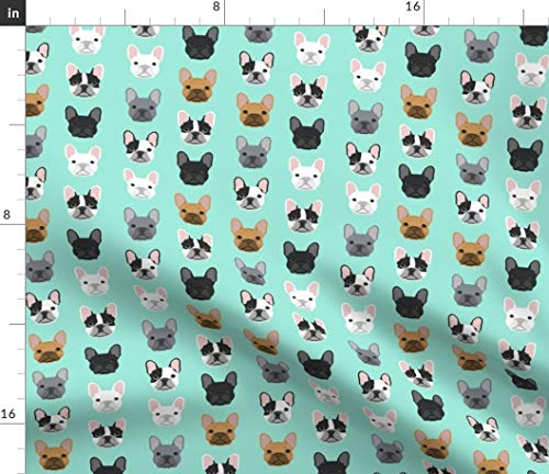 Spoonflower Fabric - French Bulldog, Mint, Dog, Frenchies, Pet, Puppy, Aqua, Rescue, Adopt Printed on Petal Signature Cotton Fabric by The Yard - Sewing Quilting Apparel Crafts Decor