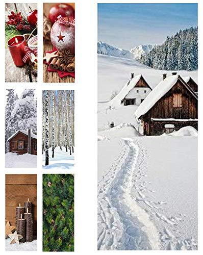 Hochwertiger Textilbanner Weihnachten/Winter – Große Auswahl – 180cmx75cm – Beidseitig Bedruckt - Schaufenster Deko - Wanddeko/Textilbild/Fotoprint - Fensterdekoration & Wandbehang (Hütten im Schnee)
