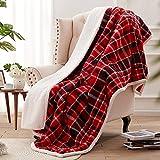 SEDONA HOUSE Sherpa Fleece Plaid Throw Blanket, Thick Plush Warm Blanket Fuzzy Cozy Soft Blanket for...