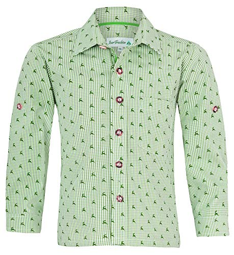 Isar-Trachten Kinder Trachtenhemd Malte mit Hirschen 52913 - Grün Gr. 104