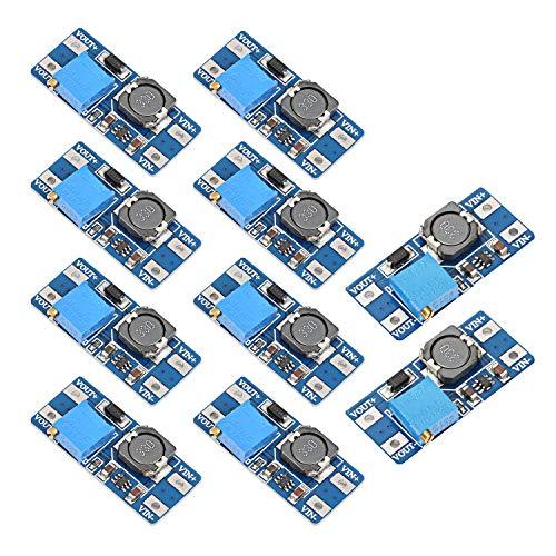 Yizhet 10 Stücke MT3608 Step-Up Einstellbar DC-DC Wandler 2V-24V bis DC 5V-28V, Step Up Boost Converter Modul 5V 9V 12V 24V für Arduino