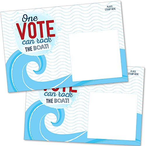 """100 Bulk Voter Postcards 4x6"""" - One Vote Can Rock the Boat - Red, White and Blue Theme With Blank Back for Message to Voters - Encourage Voting In Your State"""