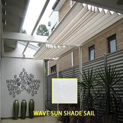 LJIANW Vela de Sombra Toldo Vela, Plegable Techo corredizo Retráctil Wave Sun Shade Sail 95% UV Toldo Toldo con polea 185 g / m2 for Carpa de jardín Sala de Sol Yarda, 55 Tamaños