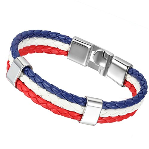 Flongo Bracelet Cuir Drapeau France Emblème National Francais Alliage Fantaisie pour Femme et Homme Couleur Blanc Bleu Rouge