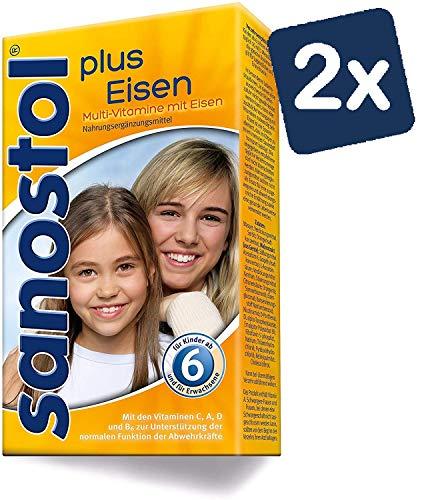 Sanostol plus Eisen: Multi-Vitamine für Kinder ab 6 Jahren und Erwachsene, mit Vitaminen und Eisen, 2x460ml