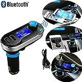 MOVTTEK France kit Mains Libres Bluetooth Transmetteur FM, Adaptateur Autoradio Kit de Voiture sans Fil Mains-Libres avec Écran LED d'Affichage