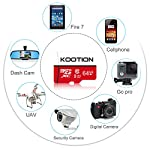 KOOTION 64GB Micro SD Card Class 10 TF Card UHS-1 MicroSDXC Memory Card, U1, C10, High-Speed 64GB TF Card for Smartphone… 13 【Widely Used】The 32 GB micro SD card is perfect for Android smartphones, tablets, digital cameras, game consoles, dash cameras, drones and surveillance system etc; It can use to store or back up high-res photos, videos, documents, music and more. 【Fast Transfer Speed】The TF memory card adopts Speed Class UHS-I(U1) and Class 10(C10) and provides you with 90MB/s of read speed and 25MB/s of write speed, and supports full HD video recording. (The Performance may vary based on host device, interface, usage conditions, and other factors.) 【Reliability & Security】The Micro SD card uses high-quality chip, features water-resistant, anti-magnetic, shockproof, high or low temperature resistant, and always keeps data safe.