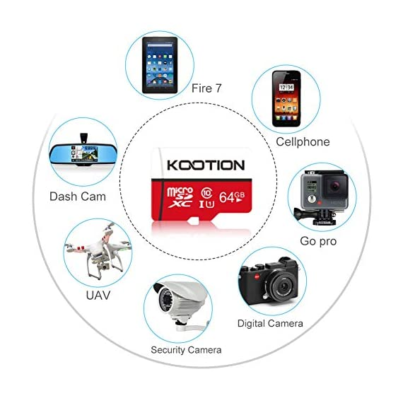KOOTION 64GB Micro SD Card Class 10 TF Card UHS-1 MicroSDXC Memory Card, U1, C10, High-Speed 64GB TF Card for Smartphone… 5 【Widely Used】The 32 GB micro SD card is perfect for Android smartphones, tablets, digital cameras, game consoles, dash cameras, drones and surveillance system etc; It can use to store or back up high-res photos, videos, documents, music and more. 【Fast Transfer Speed】The TF memory card adopts Speed Class UHS-I(U1) and Class 10(C10) and provides you with 90MB/s of read speed and 25MB/s of write speed, and supports full HD video recording. (The Performance may vary based on host device, interface, usage conditions, and other factors.) 【Reliability & Security】The Micro SD card uses high-quality chip, features water-resistant, anti-magnetic, shockproof, high or low temperature resistant, and always keeps data safe.