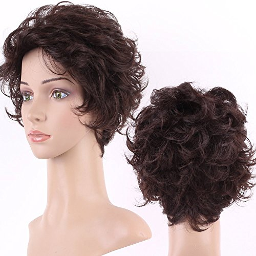 S-noilite Curly Wig Short Heat Resistant Synthetic Hair Fullty Curly Full Wig For Womens Real (Dark brown 466)