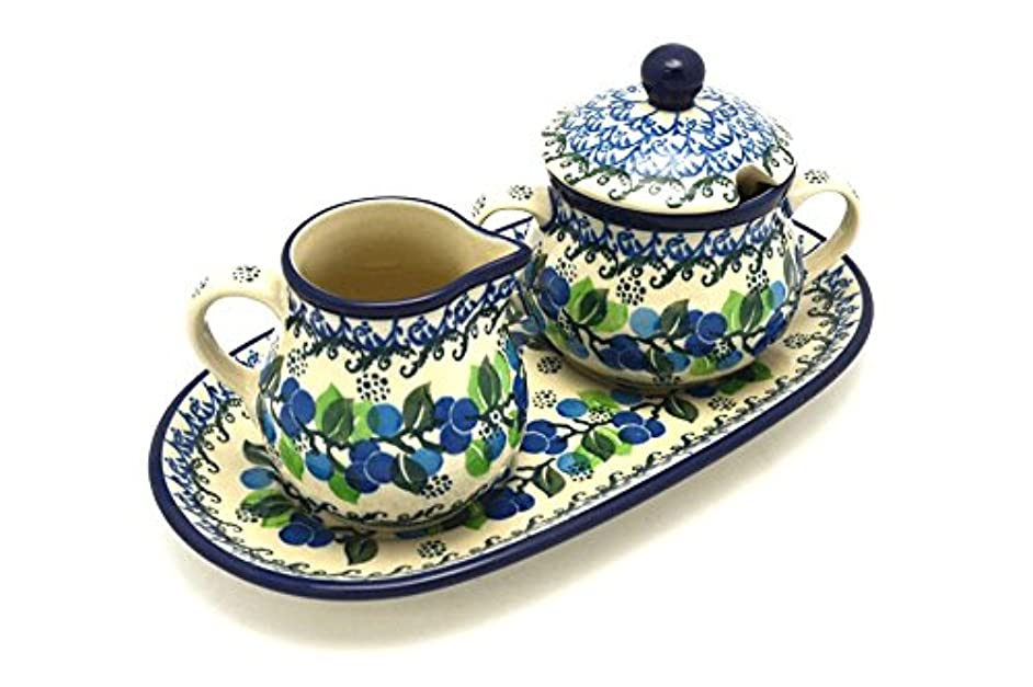 Polish Pottery Cream & Sugar Set - Blue Berries