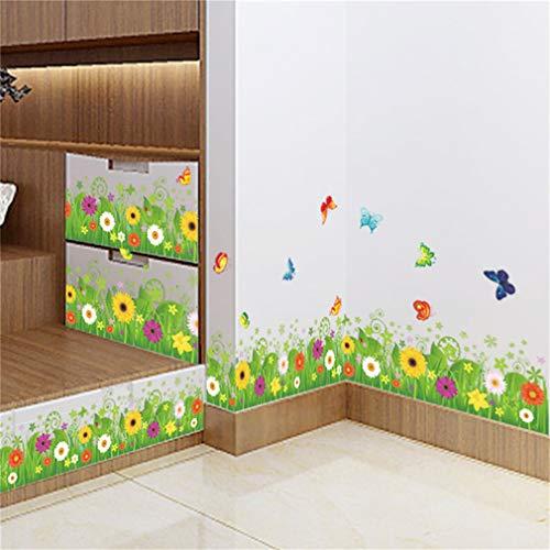 EWQHD Papillon Printemps Herbe Coloré Fleur Clover Skirting Sticker Mural Autocollant Maison Flora Ligne Diy Murale De Mariage De Meubles De Cuisine
