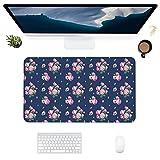 HUBNYO PeonyLeather - Alfombrilla de escritorio para oficina, superficie lisa, fácil de limpiar, resistente al agua, protector de escritorio para oficina, juegos en casa