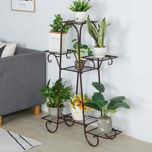 Litcom Estante para plantas de hierro forjado de estilo europeo para interiores y exteriores, decoración de muebles de interior (marrón)
